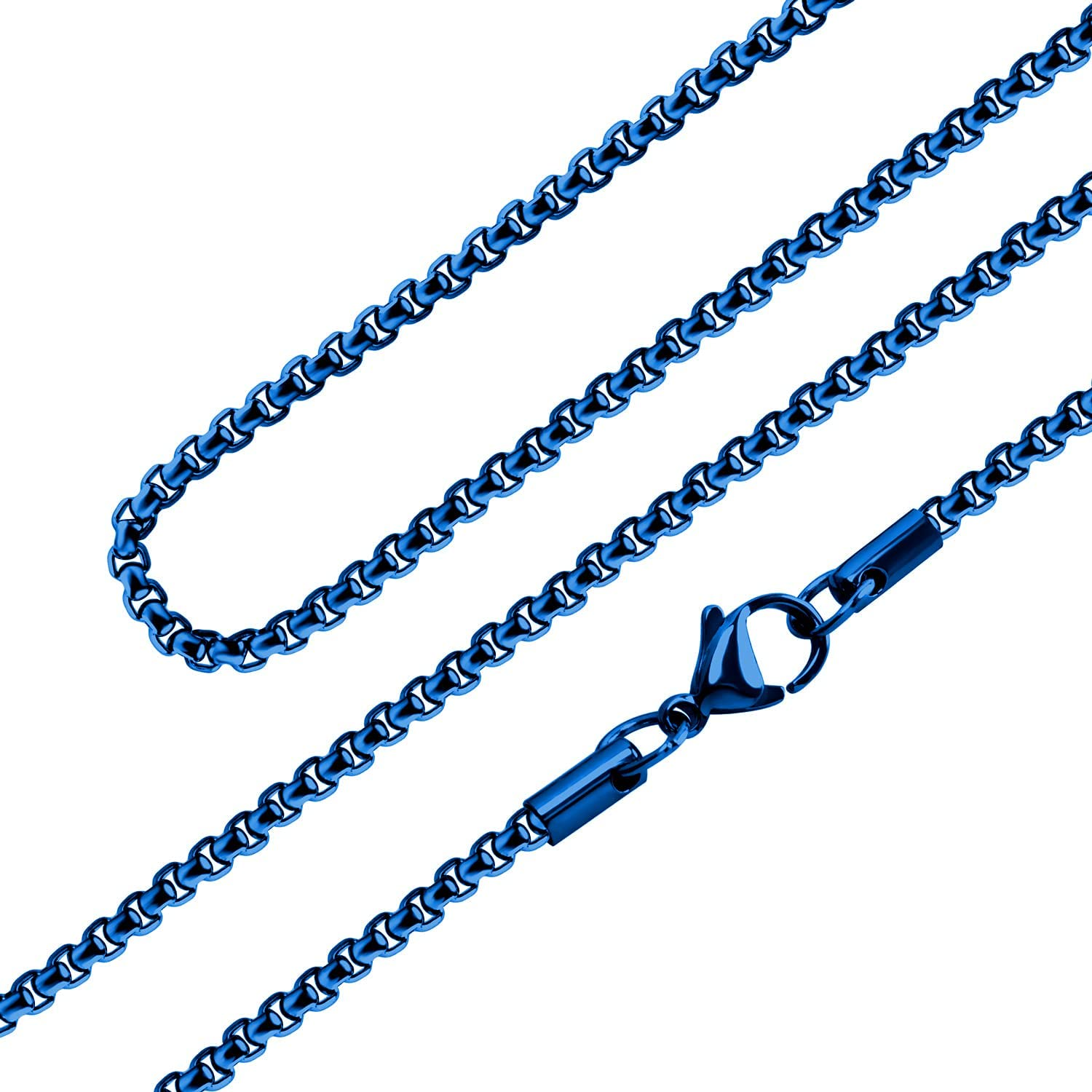 555Jewelry 2.5mm Stainless Steel Box Chain Necklace for Men & Women, 16-28 Inch
