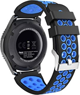 MoKo Band Compatible with Samsung Gear S3/Gear S3 Frontier/Classic/Galaxy Watch 46mm/Ticwatch E2/S2/pro/Huawei Watch GT 46mm/Watch GT 2 46mm, 22mm Perforated Silicone Strap, Black & Blue