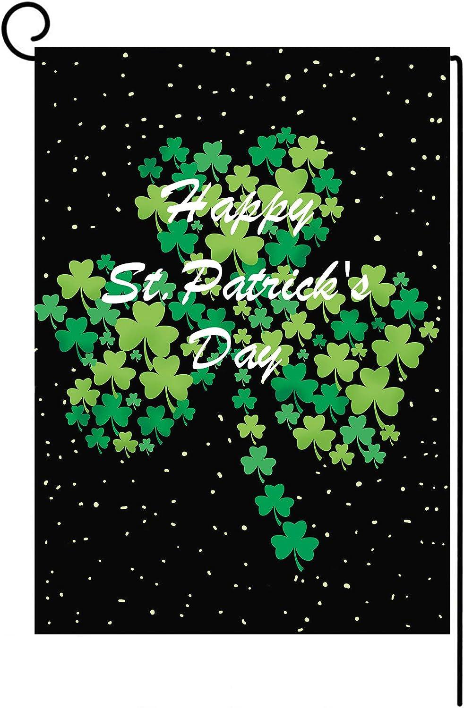 unisex Luxury goods St. Patrick's Day Garden Flag Hap Double Shamrock Vertical Sided