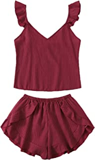 Milumia Women's Cute Heart Print Eyelash Lace Pajamas Set Satin Cami Shorts Sleepwear Nightwear