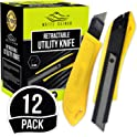 12-Pack White Kaiman Utility Knife w/Retractable Razor Blades