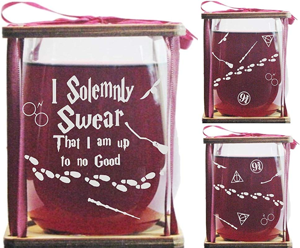 I Solemnly Swear That I Am Up To No Good 360 Degrees Engraved Stemless Wine Glass