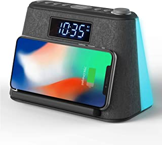 Alarm Clock Bedside Non Ticking LCD Alarm Clock with USB Charger & Wireless QI Charging, Bluetooth Speaker, FM Radio, RGB ...