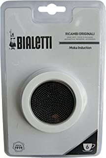 Bialetti - 3 Spare Gaskets and Filter Plate for Moka Induction Coffee Maker - 6 Cup