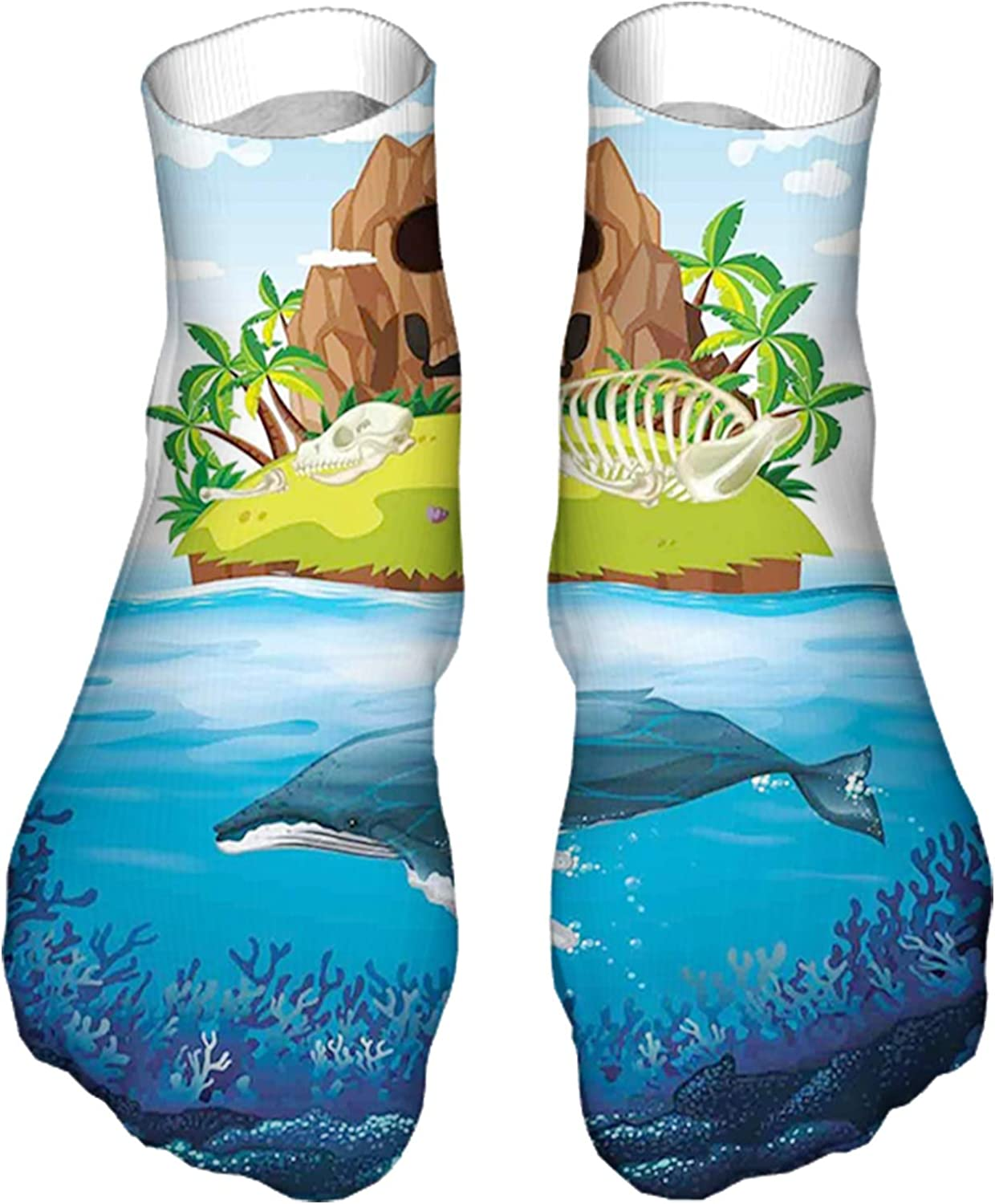 Men's and Women's Funny Casual Socks Huge Whale Diving into Ocean in Rainbow Hand Drawn Image