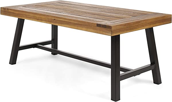 Great Deal Furniture 304643 Indoor Industrial Rustic Farmhouse Solid Wood Coffee Table Sandblast Finish Metal