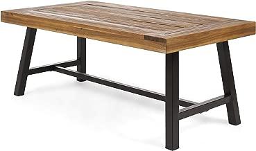 Christopher Knight Home 304643 Indoor Industrial Farmhouse Solid Wood Coffee Table, Sandblast Finish/Rustic Metal