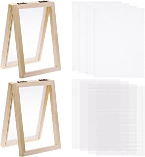 10pcs Paper Making Screen Kit Wooden Paper Making Mold Frame 5 x 7 inch Wood Screen Printing Frame with Mesh and Cloth for...