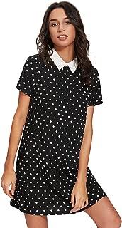 Women's Peter Pan Collar Short Sleeve Polka Dot Shift Dress