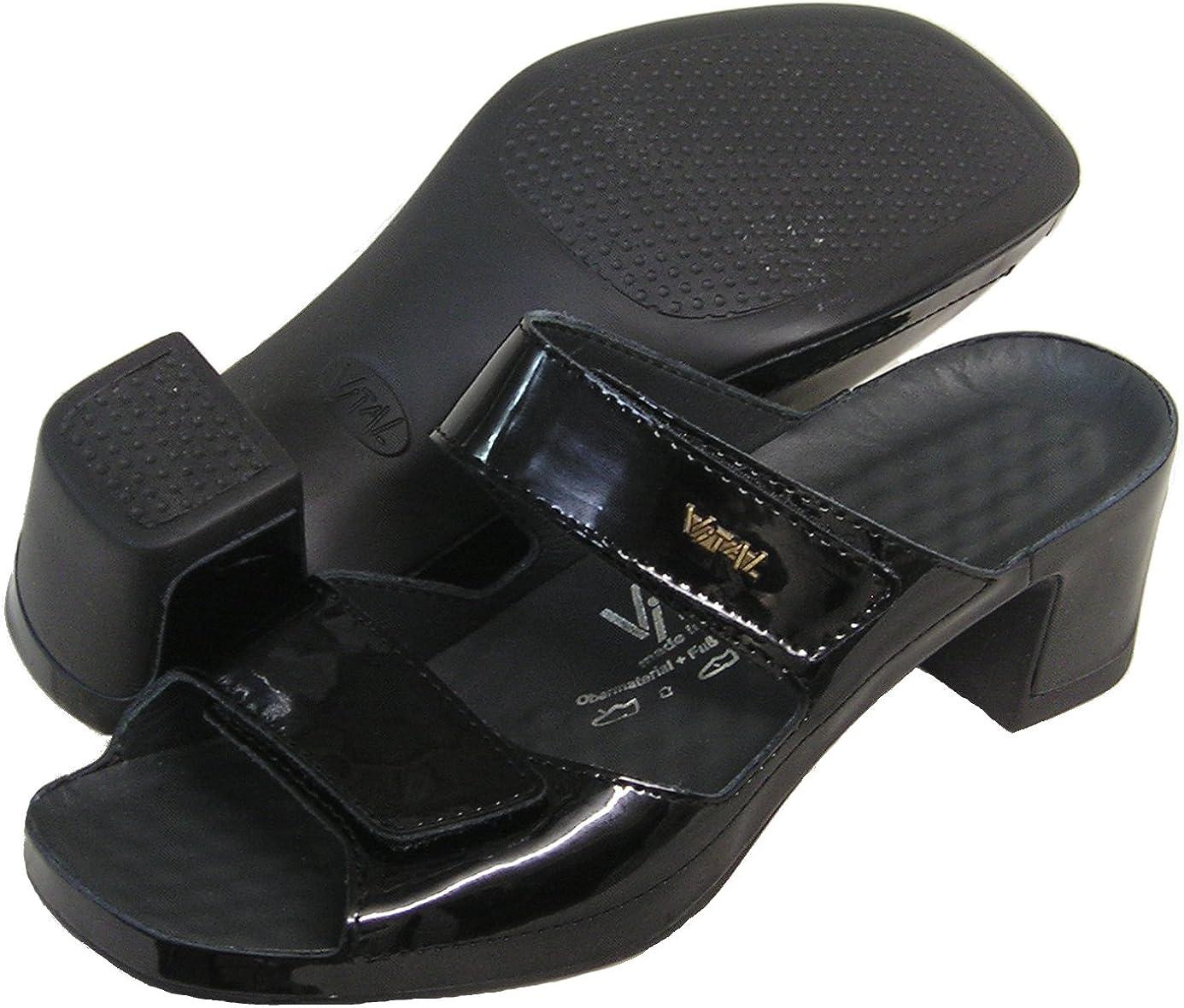 Vital Women's Patent Leather Dress Slide Sandal (Black/Patent)