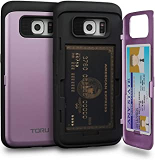TORU CX PRO Galaxy S6 Edge Wallet Case Purple with Hidden Credit Card Holder ID Slot Hard Cover & Mirror for Samsung Galax...