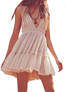 R.Vivimos Womens Summer Halter Deep V Neck Sexy Patchwork Mini Short Dresses
