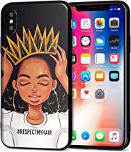 iPhone X Case African American Afro Girls Women Slim Fit Shockproof Bumper Cell Phone Accessories Thin Soft Black TPU Protective Apple iPhone X Cases (09)