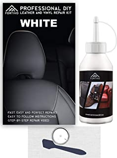 White Leather & Vinyl Repair Kit - Furniture, Couch, Car Seats, Sofa, Jacket, Purse, Belt, Shoes | Genuine, Italian, Bonded, Bycast, PU, Pleather |No Heat Required | Repair & Restore