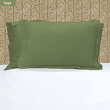 Noble Comfort Linen 100% Egyptian Cotton 2 PCs Pillow Cases Solid Pattern 800 Thread Count Size Standard Color Sage