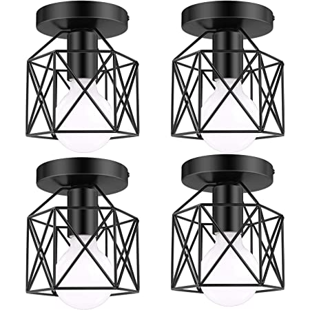 Lakumu 4 Pack Industrial Semi Flush Mount Ceiling Light Fixtures, E26 Retro Vintage Farmhouse Ceiling Cage Lights, Black Metal Rustic Ceiling Lamp for Hallway Stairway Entryway Kitchen Bedroom Balcony