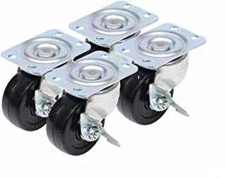 Caster Classics 2-inch Locking Low Profile HD Rubber Wheel Plate Casters - 4-Pack