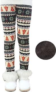Toddler Kids Girls Pants Winter Thick Fleece Lined Christmas Leggings Tights