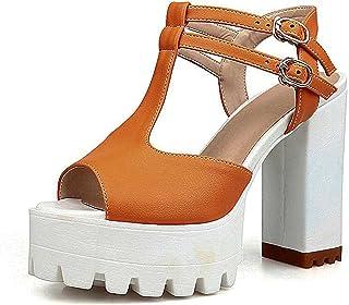3daeb159e4c Good-memories t-Strap Women Sandals Fashion Square High Heel Peep Toe  Platform Shoes