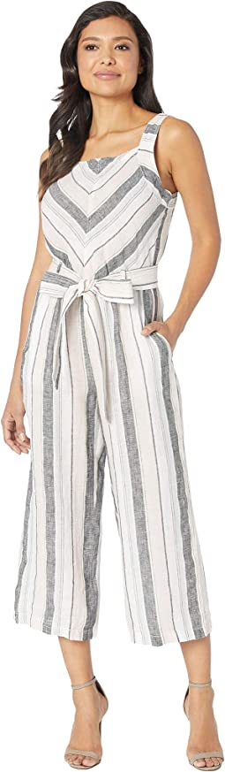 Sleeveless Sorbet Stripe Belted Jumpsuit