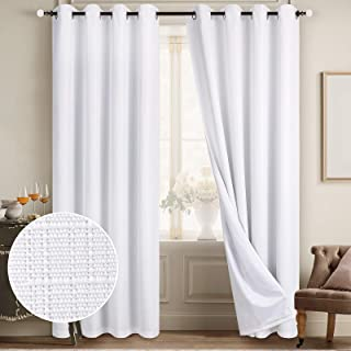 Diraysid 100% Blackout Curtains White Linen Curtains for Bedroom Grommet Thermal Insulated Room Darkening Drapes (2 Panel...