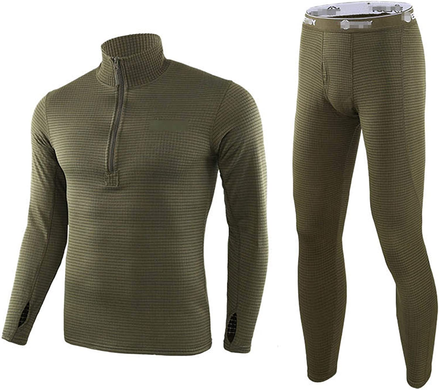 Men's Fleece Lined Thermal Men's Fleece Lined Thermal Underwear Set Motorcycle Skiing Base Layer Winter Warm Long Johns Shirts Army Green XXL