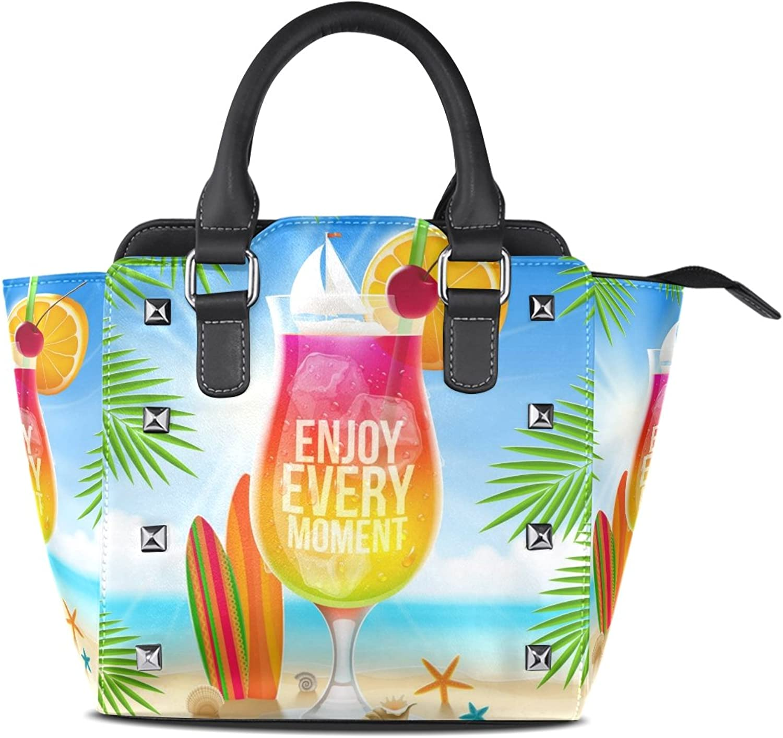 My Little Nest Women's Top Handle Satchel Handbag Summer Drink Enjoy Every Moment Ladies PU Leather Shoulder Bag Crossbody Bag