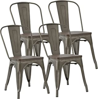 JUMMICO Metal Dining Chair Stackable Industrial Vintage Kitchen Chairs Indoor-Outdoor Bistro Cafe Side Chairs with Back and Wooden Seat Set of 4 (Gun)
