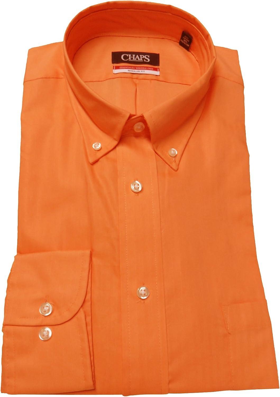Chaps Men's Regular Fit Herringbone Twill Shirt, Size 16-16 1/2 34-35, Orange