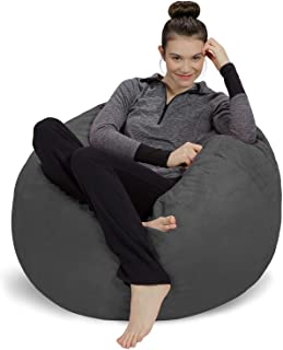 Sofa Sack - Plush, Ultra Soft Bean Bag Chair - Memory Foam Bean Bag Chair with Microsuede Cover - Stuffed Foam Filled Furniture and Accessories for Dorm Room - Charcoal 3' (Renewed)