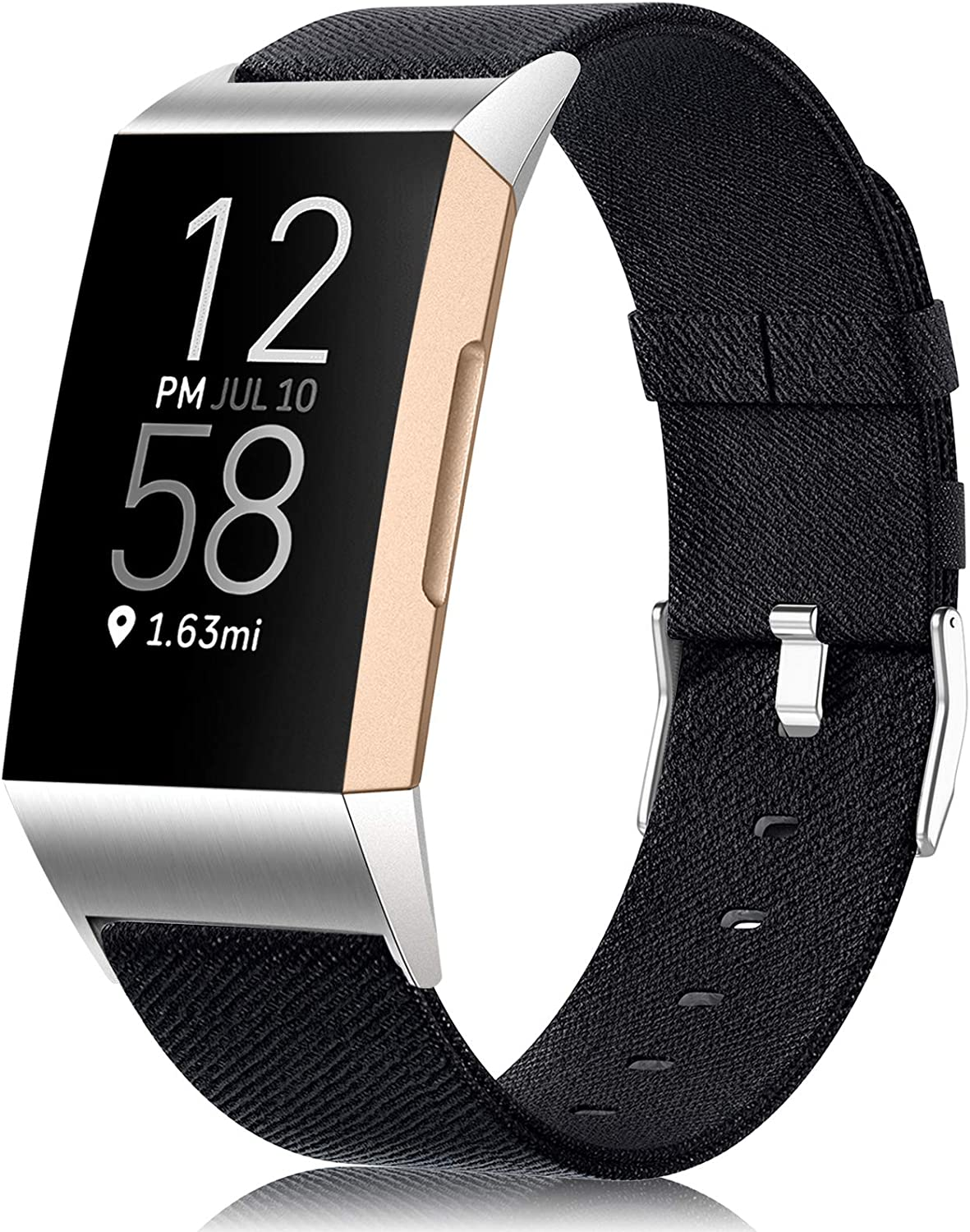 Maledan Compatible with Charge 4 and Charge 3 Bands for Women Men, Breathable Woven Fabric Replacement Accessory Strap for Charge 4/Charge 3/Charge 3 SE, Small, Black