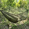 ELEOPTION Camping hammock with mosquito net portable Outdoor bed robust Hammock from parachute silk max. Load capacity 200kg perfect for home garden forests travel hiking etc