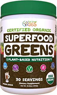 Superfood Greens Mocha by Feel Great 365, Doctor Formulated, Organic, Dairy-Free, and Vegan Packed with Real Green Vegetab...