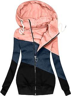 Damen Frauen Langarm Cardigan Strickjacke Zip Up Hoodie Übergroße Pullover Winterjacke Mit Taschen Mit Kapuze Sweatshirt P...