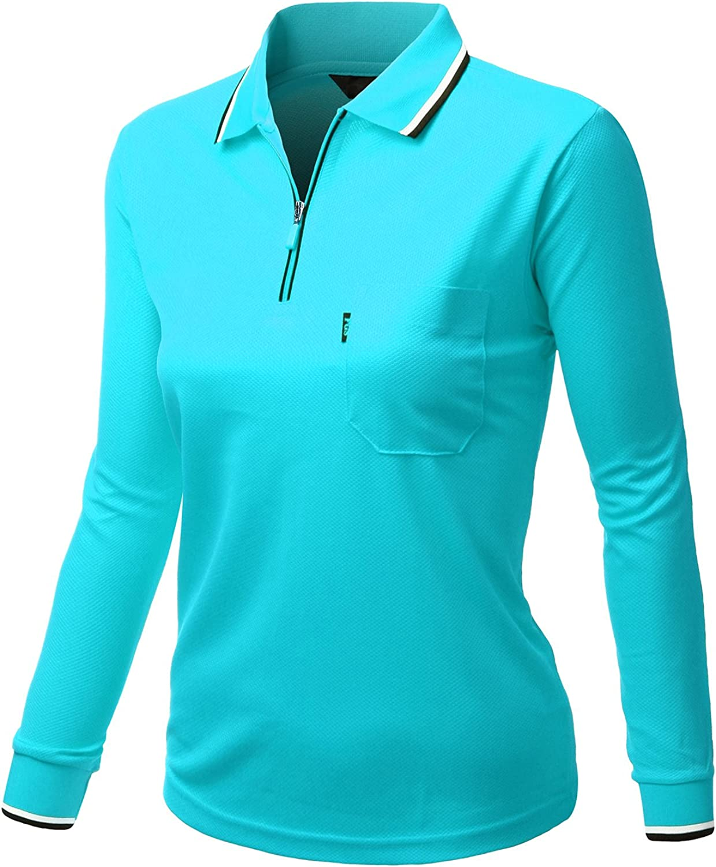 Xpril Women Basic Style Front Zipper Collar Long Sleeve Polo Pullover SkyBlue Size 3XL