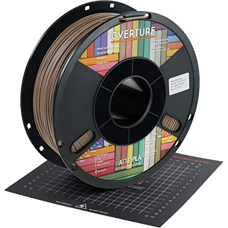 OVERTURE PLA Matte Filament 1.75mm with 3D Printer Build Surface 200mm x 200mm, Matte PLA Roll 1kg Spool (2.2lbs), Dimensional Accuracy +/- 0.05 mm, Fit Most FDM Printer, Chocolate