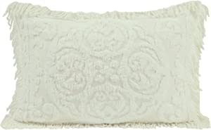 Beatrice Home Fashions Medallion Chenille Pillow Sham, Standard, Ivory