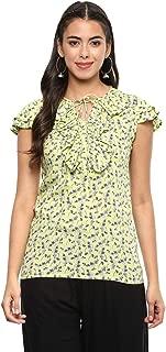 Yash Gallery Indian Tunic Tops Women's/Girls Rayon Printed Top (Pista)