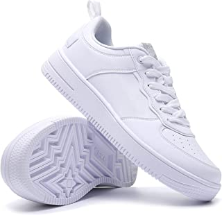 Women's Fashion Sneakers Casual Sports Shoes Lightweight Non Slip Shoes All-Match Leather White Skateboard Shoes for Girls Jogging Shopping Dancing