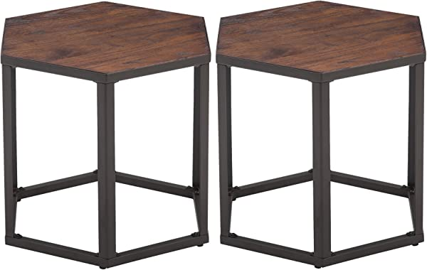 Set Of 2 End Tables Hexagon Modern Leisure Wood Coffee Tables With Metal Legs For Living Room Balcony And Office