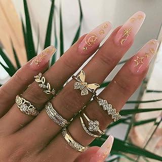Handcess Boho - Set di anelli in cristallo dorato a forma di farfalla, stile vintage con foglie, per donne e ragazze (7 pe...