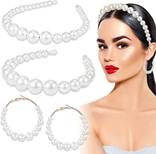 2 Pieces Pearl Headband White Artificial Pearl Hairband with Pearl Hoop Dangle Earrings for Women Girls Bridal Party Accessories