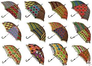 Wholesale Lot 10 PCS Multi Colored Indian Cotton Fashion Sun Umbrella Embroidered Umbrellas Parasol