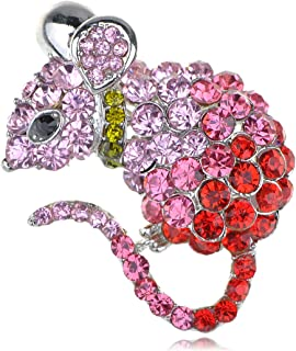 Alilang Cute Mouse Rat Pet Silvery Tone Ombre Rhinestone Crystal Animal Critter Pin Brooch