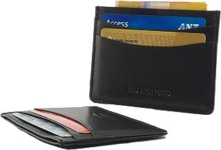 RFID Genuine Leather Slim Men's Credit Card Wallet Notes Black Slimline