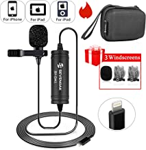 Lapel Lightning Mic for iOS Devics Vlog Video, 236 ft/6m Sevenoak Lavalier Microphone Clip-on with iOS Interface for iPhone 11 X 8 7 Plus SE iPad Pro Mini iPod Touch YouTube Vblog Podcast Micro Fil