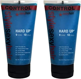 Hard Up Sexy Hair Gel Holding 5.1 Ounce Pack Of 2 Shine and Hard Holding Hairstyle - 5.1 oz Qty 2 And LTL Silicone Travel ...