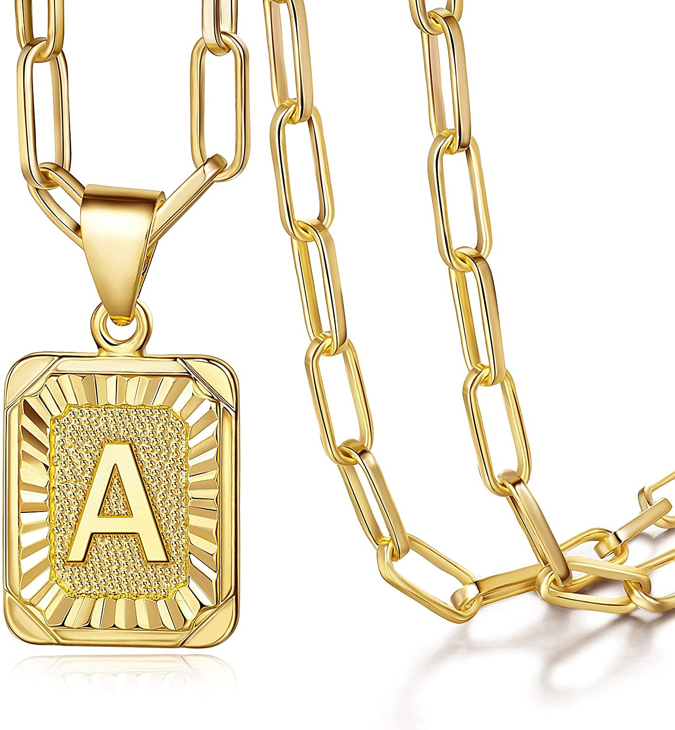Annamate Capital Initial Letter Charm Pendant Necklace for Mens Womens Teenage Girls BFF Mom Dad 18K Gold Plated Square Rectangle A-Z 26 Letters Pendants Necklace, 20-22inch