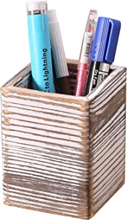Homode Rustic Wood Pencil Holder Pen Cup Desk Caddy Organizer Office Supplies Accessories