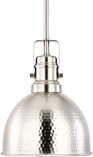 Light Society Hampshire Farmhouse Pendant Lamp, Hammered Satin Nickel, Vintage Industrial Modern Lighting Fixture (LS-C248-SN)